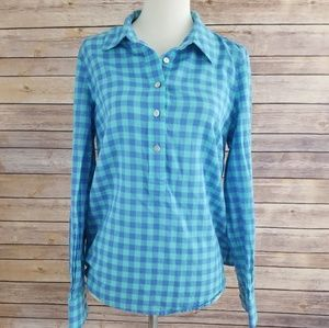 Vineyard Vines Blue Plaid 1/4 Button Down Blouse